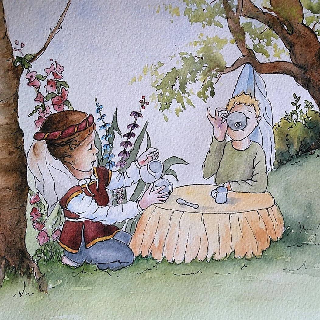 Kid's illustrated story books. An illustration from The Blue Giant.